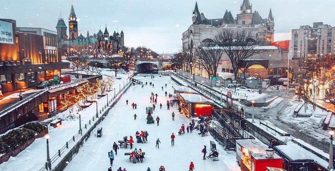 Rideau Canal Skateway big ice rink, Ottawa, Canada