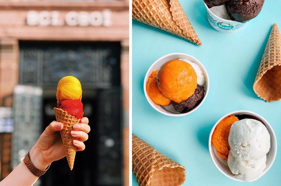 яскраве морозиво в вафельному та паперовому стаканчиках