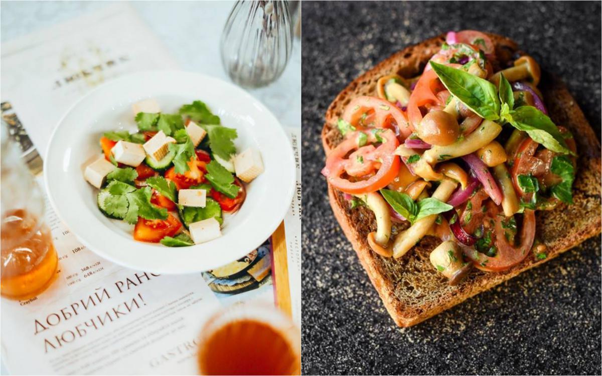 Овочевий салат із печеним перцем і сиром тофу