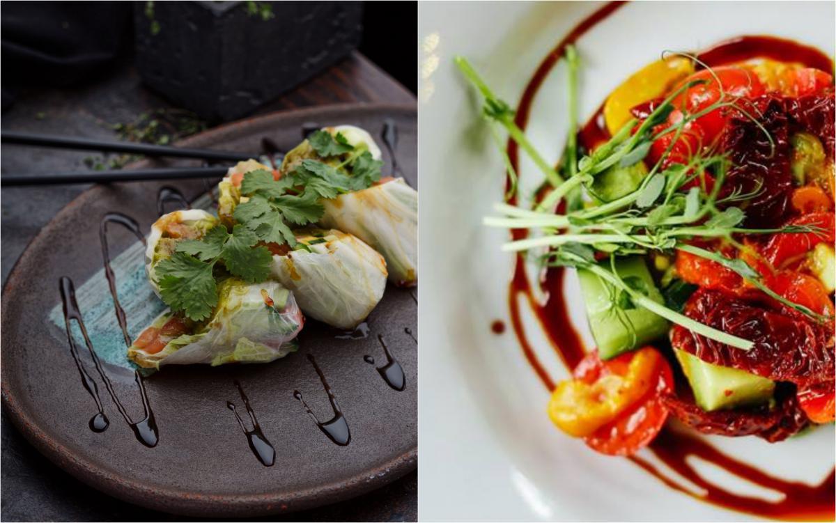 голубці та Салат з авокадо, в'яленими томатами й печеним перцем